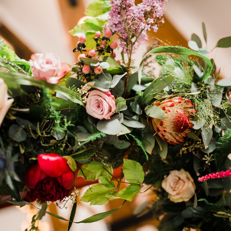 Flower arrangement for tipi wedding, Scarborough, UK